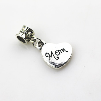 20 adet/grup Kalp Mom Charms Dangle Asılı Charms big hole Boncuk Avrupa kolye fit pandor charms bilezik DIY takı 27250