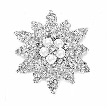 Wholesale 2.8 Inch Rhodium Silver Large Leaf Flower Ivory Pearl and Crystal Bouquet Brooch 47367