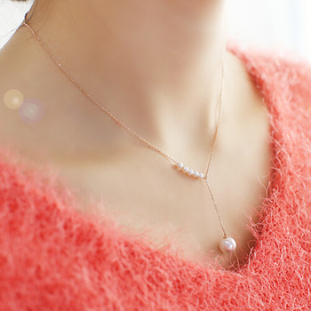 YUN RUO Adjustable Pearls pendant Necklace stainless steel Titanium Rose Gold Color Woman Jewelry gift Wholesale 60215
